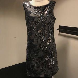 Gunmetal sequins sleeveless dress